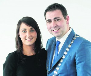 The new County Mayor with his secretary, Edel Howard, who is from Newmarket.  Picture: Martin Walsh.