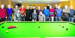 Denis Taylor on a visit to Newcastle West Snooker Club with some of the members. Newcastle West Snooker Club