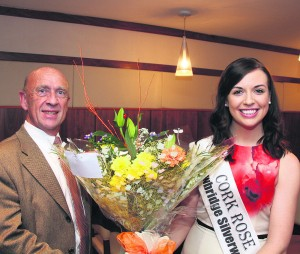 Aoife Murphy, Cork Rose, was special guest at the Rotary Club of Mallow weekly luncheon last Thursday, where she was presented with a bouquet of flowers by James Byrne, President. Pic S Murphy.