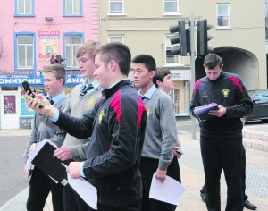 Patrician Academy students taking part in a 'Maths Eyes Mallow' project on the streets of the town this week.