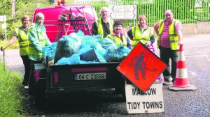 Mallow Tidy Towns members with rubbish collected in the Gouldshill area.