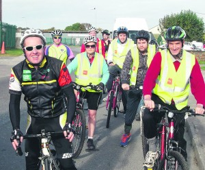 Cyclists, Ian O'Driscoll, Fearghal Hogan, Mary Fogarty, Trevor O'Neill, Billy Gallagher, Jerry Crowley, and Michael Broderick.