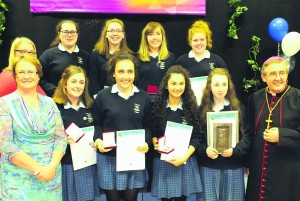 Guest speaker Emma Walsh (Front left) mother of the late Donal Walsh and Bishop Crean pictured with St. Mary's Secondary School Award winners at Mallow Youth Centre last week for the Pope John Paul II Awards.