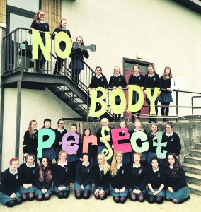 St Mary's Secondary School students with their message 'No BODY is Perfect.'