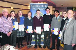 Finalists in the Rotary Club of Mallow Youth Leadership Competition, picturedi the Hibernian Hotel last Thursday, where Davis College student Jed Duane (centre) was declared winner. Also pictured are Dennis O'Sullivan, Scoil Mhuire Gan Smal Blarney, Sophie Hudner, St Mary's Charleville, Madeleine O'Connell, Scoil Mhuire Buttevant, Ian O'Sullivan, Scoil Treasa  Kanturk, Alen Joseph, Patrician Academy Mallow, and Aisling O'Sullivan, St Mary's Mallow, with David Thomas of Mallow Rotary, and Mallow Rotary President James Byrne.