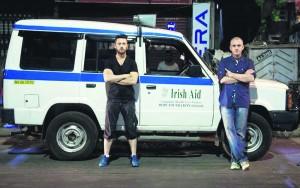JP  O'Sullivan with TV3's Deric Hartigan filming in Kolkata, India.