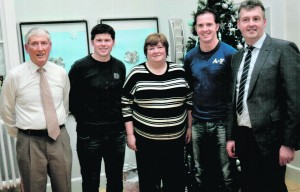 Fergus Scanlan and Helen Galvin, Asst. Director of Nursing, St. Ita's Hospital with Pat and Ger Downes and Michael Scannell (nephews of the late Murt Downes RIP who organised the Murt Downes CD for the Friends of St. Ita's which raised €10,000 and was dived between the Friends, Drom Respite Centre and Rathfredagh Cheshire Home, each getting €3,285) at the Christmas party. Friends of St. Itas Christmas Party