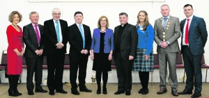 Minister Jan O'Sullivan with Chairperson of the Parents Council Caroline Pierce, former principal Ned O'Callaghan, George O'Callaghan CE of LCETB, Principal Jim Tierney, Fr. Tony Mullins, Ceannaire Charlotte Collins, Mayor Liam Galvin and Vice Principal Liam Murphy. Paul Ward Officially Opening of Colaiste Íde agus Iosef