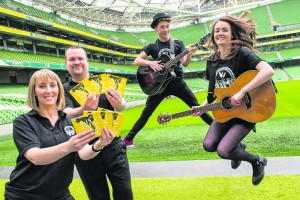 Mairéad Cluskey (President of Youth Work Ireland), Barry Lennon (Director of The Irish Youth Music Awards), Jake Mc Ardle (Youth Work Ireland Louth's 2015 IYMAs Recipient) and Laura Duff (Limerick Youth Services Paul Clancy Songwriter Winner) launching the IYMAs album at the Aviva Stadium.