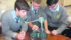 Patrician Academy students working on their entry for the Vex Robotics Competition in Cork next week; Lorcan O'Donovan, Calum Smith and Calum O'Brien.