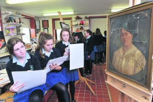St Mary's School, Mallow, Transition Year students Laura Wilson, Ella Lynch and Tara sketch an anonymous portrait as part of  their 1916 history project on '1916 Women of the Age'.