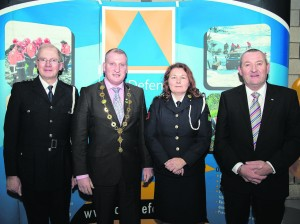 14/01/2016                 REPRO FREE The new Limerick Civil Defence Headquarters facility at Docklands Business Park, Dock Road, Limerick was officially opened last evening (Thursday, 14 January 2016) by Cllr. Liam Galvin, Cathaoirleach of the City and County of Limerick. Attending the event were left to right, Michael Ryan, Chief Fire Officer, Limerick, Mayor of Limerick City and County, Cllr. Liam Galvin, Cecilia O'Flaherty, Project Manager and joint Limerick Civil Defence Officer and Pat Dowling, Deputy Chief Executive, Limerick City and County Council. Picture: Alan Place/Fusionshooters The state-of-the-art facility, which will be utilised by 100 Civil Defence volunteers from around Limerick, includes multiple training/lecture rooms and store rooms, operations and communications rooms, CISM debriefing room, offices, canteen facilities and water rescue equipment stores. Picture: Alan Place/Fusionshooters