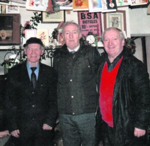 David O'Riordan, Granagh, Pat O'Donovan and JOhn O'Riordan, Ballinvreena recalled their 30 years of involvement at the rambling house session at Knockfierna. Knockfierna Rambling House on New Years Day