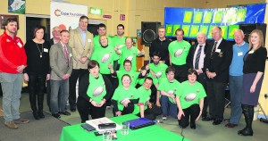 Members of Malllow Barbarians adapted tag rugby team pictured with coaches and supporters, plus rugby legend Donal lenihan and Munster rugby president Bertie Smith, at the launch of the Hub Initiative in the COPE Foundation, Quartertown,  on Tuesday night.
