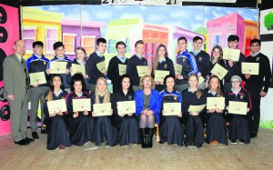 Awardees with School Principal Paddy O'Neill and Minister for Education and Skills Jan O'Sullivan.