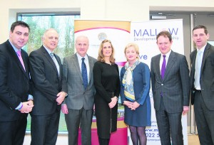 Cllr. John Paul O'Shea, Mayor of Cork County, David Stanton, TD, Michael Loftus, Head of Faculty of Engineering and Science, CIT, Noreen Walsh, Vice Chair of Mallow Development Partnership, Aine Collins, TD, Sean Sherlock, TD Minister of State and Patrick Buckley, Deputy Managing Director EPS Ltd at the  launch of the North Cork Engineering Cluster Launch on 29th January at Mallow Primary Healthcare Centre. The launch was organised by Mallow Development Partnership.