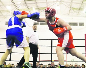 Maria Keating (in red) from Rathkeale Boxing Club fighting on the undercard of the Katie Taylor v Jelena Jevic fight which was held at Mallow GAA Complex last Friday night.