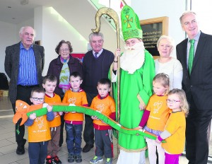 Pictured at the launch of the 2016 St Patrick's Day Parade, at Mallow GAA Complex last monday, was the Grand Marshall for this year, Liam Sheehan, with Hann 'Ma' Sheahan, Michael O'Donovan, St Patrick, Mary O'Brien and Noel O'Connor, with gaelscoil Naionra pupils Tyler Kiely, Callum O'Brien, Conor Holey, Shay O'Brien, Jessica Galvin and Georgia Singleton. Pic, S Murphy.