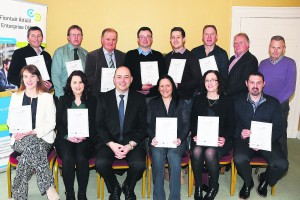A group of business people from the North Cork area who received their certificates from Kevin Curran, Acting Manager Local Enterprise Office Mallow (front centre) following completion of the course on Accelerate Management Development at Springfort Hall Hotel Mallow. Also in the picture are course tutors Barry Moran and Padraig Considine (back right).