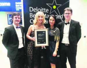 Members of the EPS team with the Deloitte Best Managed Companies certificate;  Neil O'Toole, Joanne Treacy, Katie Murphy and Denis Buckley.