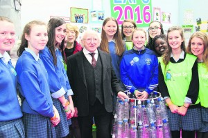 President Michael D Higgins and his wife Sabina pictured with students from St. Mary's Secondary School at the Green Schools Expo in the RDS Dublin.