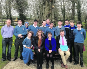 Caption with the photograph reads:  from left: Billy Lee, Ballygowan; Eileen Fitzgerald, BITC; Anita Gallagher, Britvic and Donal Enright, Desmond College with the 5th year students of Desmond College.