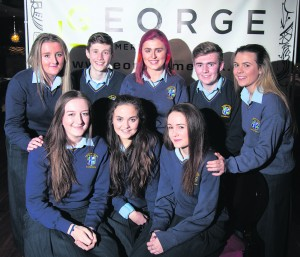 Front L-r, Maeve Gloster, Adela Azzopardi and Davida Sheils Forde. BackL-r, Muireann Clifford, Stephen Adams, Lucy Murphy, Luke O' Neill and Allison Whitson salesian college fashion show launch