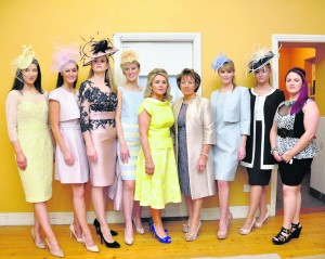Models from Celia Hollman Lee Agency with Maura , Bride and Liz O'Connor from Brides Boutique, Glin.         Den O'Brien Abha Bhan Parish Park Committee Fashion Show