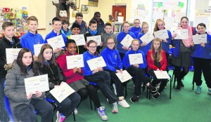 6th class pupils from Scoil Ghobnatan pictured at Mallow Library last week where the books which they wrote, illustrated and printed as part of the Write a Book Project were put on display.