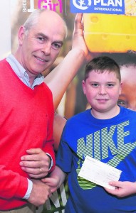 Ben Mannix won first prize in the senior category at the Operation Mayday Poster Competition, run by Plan International to raise awareness of the refugee crisis. The presentation took place in Mallow GAA Complex. Pic S Murphy.
