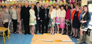 Bishop O'Reilly with Knockainey NS Staff Members Photo John Mortell Knockainey School Opening