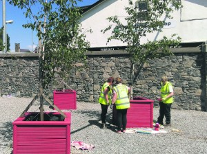 Mallow Tidy Towns volunteers painting and cleaning up the planted area at Mallow Bridge.