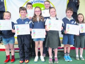 A happy group of children from Ballybrown NS with their Health Promoting Schools Certs