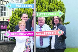 Kay McAuliffe, Dromcollogher, Tomás O'Neill, Mallow, Pat Mannix, Buttevant and Bridget Fitzgerald, Millstreet pictured at the announcement of the merger of Mallow Credit Union with Buttevant and Doneraile, Dromcollogher and Millstreet Credit Unions.