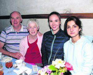 Tim and Margaret Harnett with Miriam Rossa and Sebine Cabanas, Knockainey, enjoying the Hup na Houra Summer Show in the Old Chapel Rooms, Kilfinane on Tuesday night