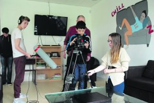 left to right-Billy Bohan , Liam Crowley, Dylan White & Ed Cashman, Cork Film Centre- behind, Meghan Killilea