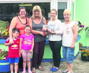 Aisling and Ann Sexton recently raised over €1800 for the garden at St Mary's Alzheimers Day Care Centre in Mallow. They held a 5k run at Carrigoon in Mallow on Sunday 31st July. Pictured are Aisling, her children Scott and Sophie, Anne, Linda Grogan (Nurse Manager of the Day Care Centre), and Liz, nurse at the Day Care Centre.