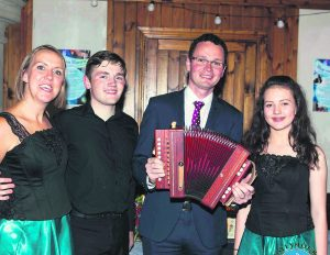 Minister Patrick O'Donovan with cast members Ciara Flanagan, Micheál Fogerty, and Rachael Lynch.