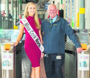 Miss Cork North, Amy Barry from Malllow, pictured at Mallow railway Station with Tim O'Brien of Iarnrod Eireann before heading to Dublin to take part in the Miss Ireland competition this week . More info from Caroline Moody on 087 2652485.