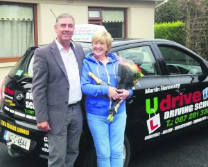 Anne Herlihy pictured with Martin Hennessy of U Drive after her driving lesson last week in Charleville.