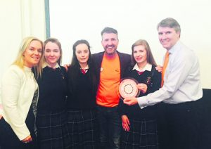 Áine Healy, Link Teacher with John the Baptist CS Hospital students Bethany Pym, Katie O'Rourke and Aoife Callanan, Jim Breen (founder of Cycle Against Suicide) and Ombusman for children Niall Muldoon at the Royal Hospital Kilmainham for the Cycle Against Suicide Ambassador School Awards ceremony.