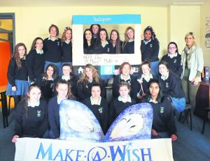 St Mary's Secondary School TY students with teacher Donna Crowley at the launch of their 'Make a Wish' initiative.