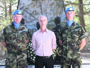 Denis with CQMS Brendan Fahy and Sgt Emmet Murphy.
