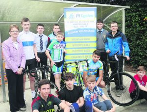 Patrician Academy Principal Catherine Fitzpatrick, members of the Student Council and Indrek Mannik of PiCycles at the launch of the Student Council-sponsored Walk, Cycle Run.