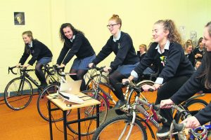 Students taking part in the Pedal Day of Action at St Mary's Secondary School.