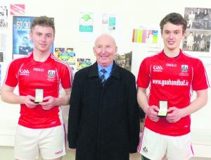 All Ireland 60x30 Senior Doubles Colleges Handball Champions, David Walsh and Tadhg O Neill from the Patrician Academy.